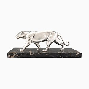 Art Deco Silvered Panther Sculpture by Alexandre Ouline, 1930s