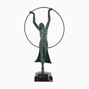 Art Deco Bronze Hoop Dancer Sculpture by Charles Charles, 1930s