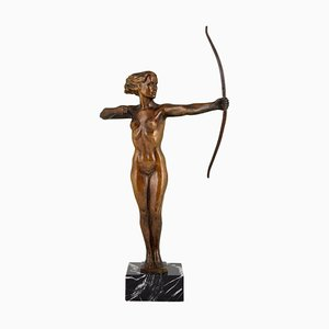 Art Deco Diana Bronze Sculpture with Bow by V. H., 1930s