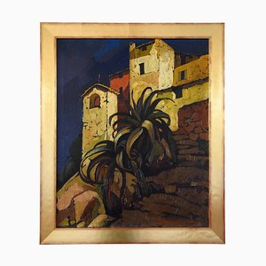 Art Deco Painting of Italian Village with Palm Tree by Cesare Bonanomi, 1930s