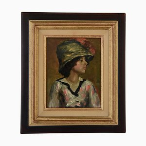 Art Deco Painting of a Young Woman with Hat by French school, 1920s