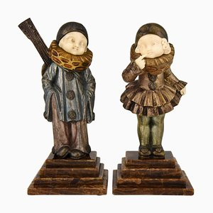 Art Deco Bronze and Ivory Pierrot and Pierrette Sculptures by France 1930, 1930s, Set of 2