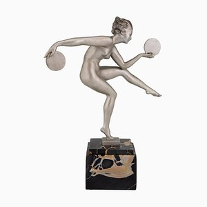 Art Deco Dancer Sculpture by Derenne and Marcel Bouraine, 1930s