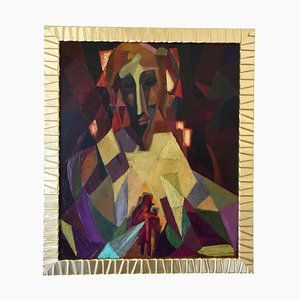 Mid-Century Cubist Oil Painting Portrait by Louis Giraud, 1950s