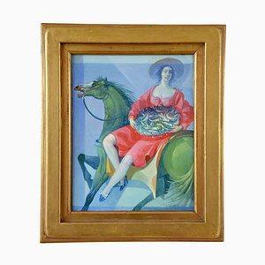 Painting of a Woman of Horseback with Basket of Fish by Vincenzo Calli, 1987