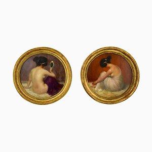 Art Nouveau Circular Oil Paintings by Emmanuel Fougerat, Set of 2