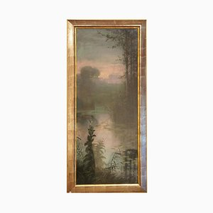 Framed Landscape at Sunset by Gaston Noury, 1900s