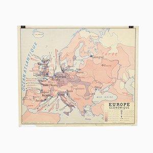 Mapa de Europa vintage de Europa y África de Rossignol, años 60