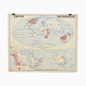Escuela francesa Mapa de pared vintage del Imperio británico de Rossignol, años 60
