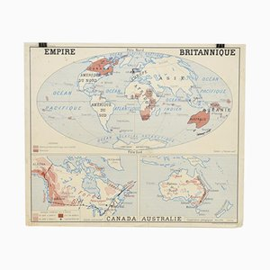 French School Vintage Wall Map of the British Empire from Rossignol, 1960s