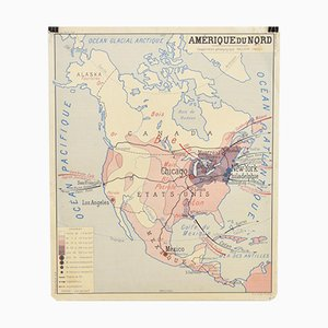 French School Vintage Wall Map of America from Rossignol, 1960s