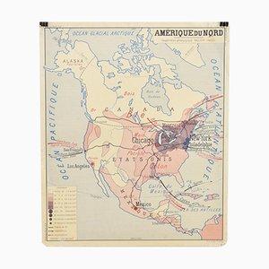 Mappa scolastica vintage dell'America di Rossignol, Francia, anni '60