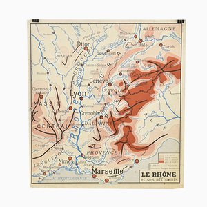 French School Vintage Wall Map of France Rhone & Garonne from Rossignol, 1960s