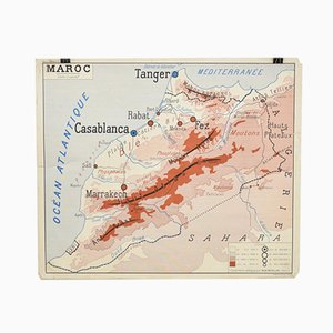 French School Vintage Wall Map of Morocco from Rossignol, 1960s