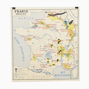 French School Vintage Wall Map of France Industry & Commerce from Rossignol, 1960s