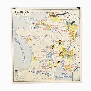 Mapa de pared francés vintage de France Industry & Commerce de Rossignol, años 60