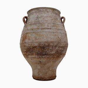 Große lackierte Vintage Urne aus Terrakotta mit 3 Griffen