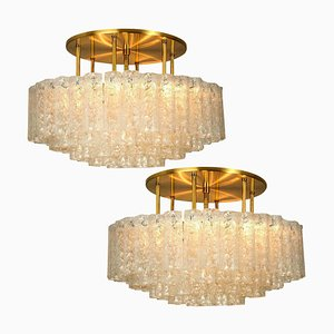 Large Blown Glass and Brass Flush Mount Light Fixtures by Doria Leuchten Germany, 1960s, Set of 2