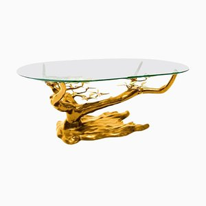 Large Brass Coffee Table in the Style of Willy Daro, Belgium, 1970s