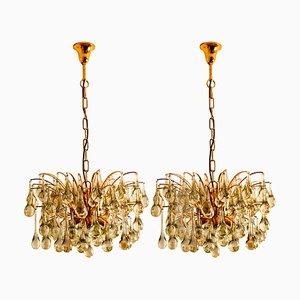 Große Messing und Kristall Kronleuchter von Christoph Palme, 1960er, 2er Set