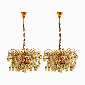 Large Brass and Crystal Chandeliers by Christoph Palme, Germany, 1960s, Set of 2