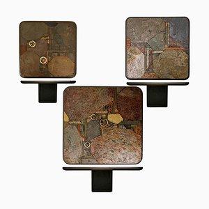Tables en Bronze et Ardoise par Paul Kingma pour Kneip, Pays-Bas, 1991, Set de 3