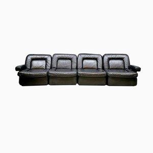 Modulares schwarzes Beauty Sofa, 1970er