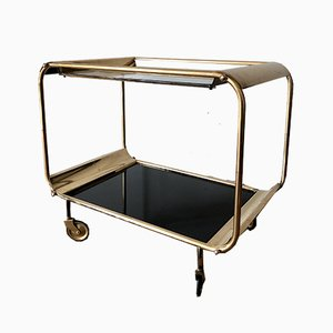 Art Deco Serving Trolley in Brass, 1930s