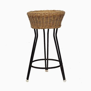Vintage Rattan and metal Stool from Rohe Noordwolde