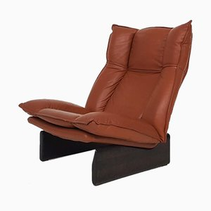 Dutch Modern Wood and Leather Lounge Chair from Leolux, 1970s