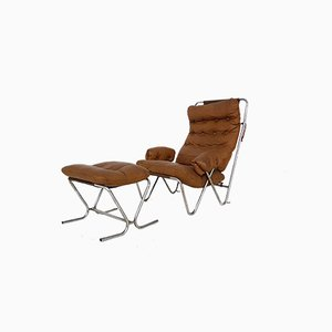 Mid-Century Cognac Leather and Tubular Chrome Lounge Chair and Ottoman, Set of 2