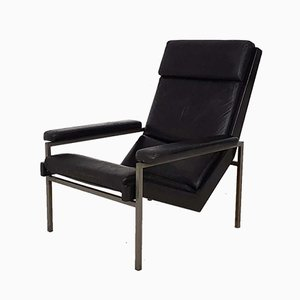 Black Leather Lounge Chair by Rob Parry for Gelderland, the Netherlands, 1960s