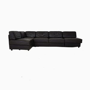Dark Brown Leather Element Sofa in the Style of de Sede, 1970s