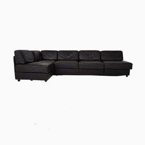 Dunkelbraunes Leder Element Sofa im Stil von de Sede, 1970er