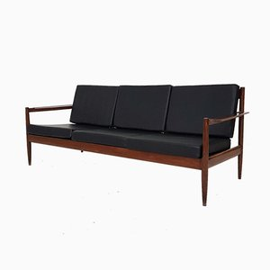 Rosewood Sofa with Black Vinyl Upholstery, 1960s