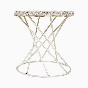 Metal and Rattan Wire Stool, 1950s
