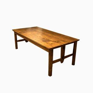Großer Antiker Weichholz Esstisch