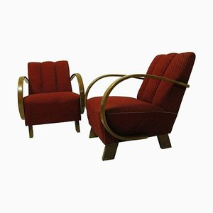 Art Deco Armchairs, Czechoslovakia, 1940s, Set of 2