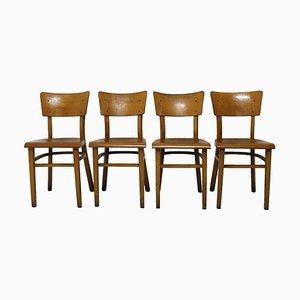 Buchenholz Esszimmerstühle von Thonet, 1950er, 4er Set