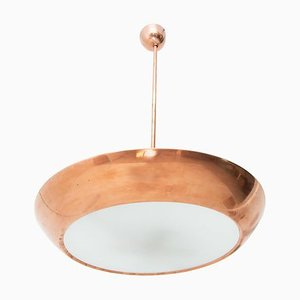 Functionalist Copper UFO Pendant Lamp by Josef Hurka for Napako, Czechoslovakia, 1940s