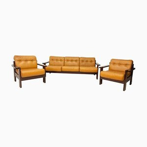 Vintage Leather Scandinavian Style Living Room Set, 1980s