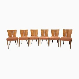 Art Deco H-214 Dining Chairs by Jindřich Halabala for UP Závody, 1950s, Set of 6