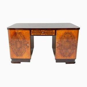 Massiver Art Deco Schreibtisch aus Nussholz, 1930er