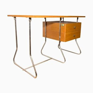 Functionalist Czech Chrome-Plated Writing Desk from Kovona, 1950s
