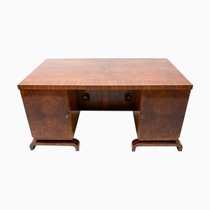 Art Deco Exceptional Double-Sided Desk in Walnut, 1930s