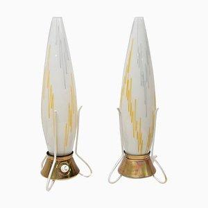 Lámparas de mesa Rocket, Checoslovaquia, años 50. Juego de 2