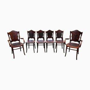 Bugholz Stühle und Armlehnstühle von Jacob & Josef Kohn, Wien, 1900er, 6er Set
