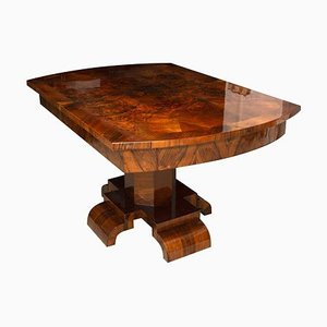 Art Deco Adjustable Dining Table in Walnut Veneer, 1930s