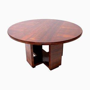 Art Deco Round Dining Table in Walnut by Vlastimil Brožek, 1930s