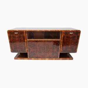 Bohemian Art Deco Walnut Veneer Sideboard or Buffet, 1930s